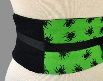 Halloween Waist Cincher - Spider Infestation Obi Belt Corset Any Size Lace Up Black and Green