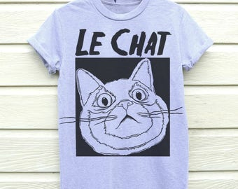 Cat Shirt, Cat T-shirt, Graphic Tee, Cat Lover Shirt, Womens Cat Tee, Cat Print, T-Shirt, Graphic T-shirt, Grey Cat Tshirt, Le Chat, Cat Tee