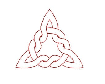 Machine Embroidery Design Instant Download - Celtic Knotwork Triknot 4a Quilting Redwork