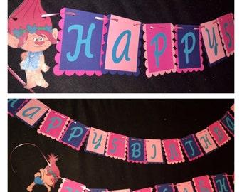 Trolls poppy large birthday banner