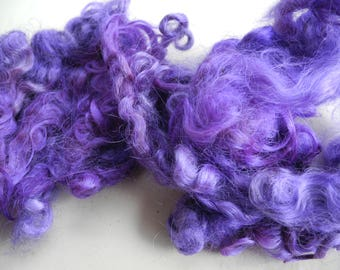 Leicester Longwool locks 1 ounce Silvered violet