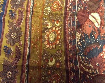 Coupon of silk printed in shades of autumn