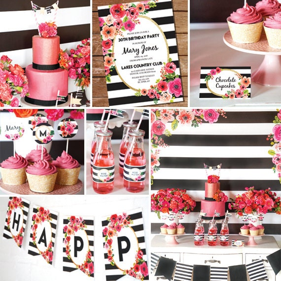 Black And White Stripe Party Decorations Watercolor Floral