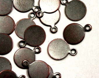 80 Pcs Antique copper Tone Brass 10 mm Circle tag Charms ,Findings 91AC-26