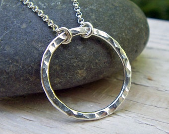 Silver Circle Necklace, Karma Necklace, Eternity Necklace, Sterling Silver, Hammered Circle, Argentium Silver, Open Circle, Modern Jewelry