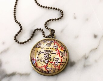 Rocky Mountain National Park Map Necklace - Custom Handmade Pendant - Charm Jewelry - Wanderlust - Travel - Colorado - Estes Park - Boulder