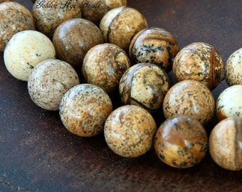 Picture Jasper Beads, 10mm Round - 15 inch Strand - eGR-JA008-10