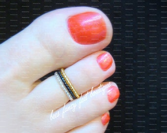 Stacking Toe Ring, Stacking Ring, Gold Toe Ring, Gold Ring, Silver Toe Ring, Silver Ring, Micro Beads, Toe Ring, Ring, Stretch Bead Toe Ring