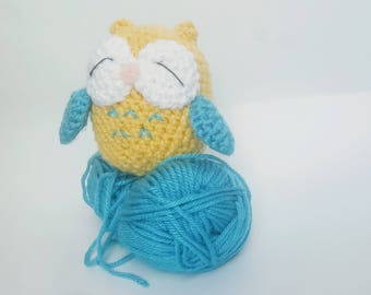 owl,crochet,handmade,cute,night,yellow,blue,boys,stuffed,baby,toys, beautiful,trending,cheap,model,potrait