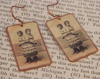 Circus earrings Circus Freak Cojoined Twins Circus Jewelry mixed media jewelry