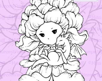 PNG Digital Stamp - Snapdragon Sprite with Baby Dragon - Digi Instant Download - Fantasy Line Art for Cards & Crafts by Mitzi Sato-Wiuff