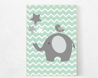 Elephant nursery art, mint nursery decor, elephant print, mint nursery art, mint decor, New Baby Nursery Prints, kids room, baby gift,