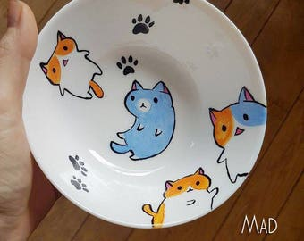 Cats in space  - Handpainted porcelain plate  -  Mad CATalyst series