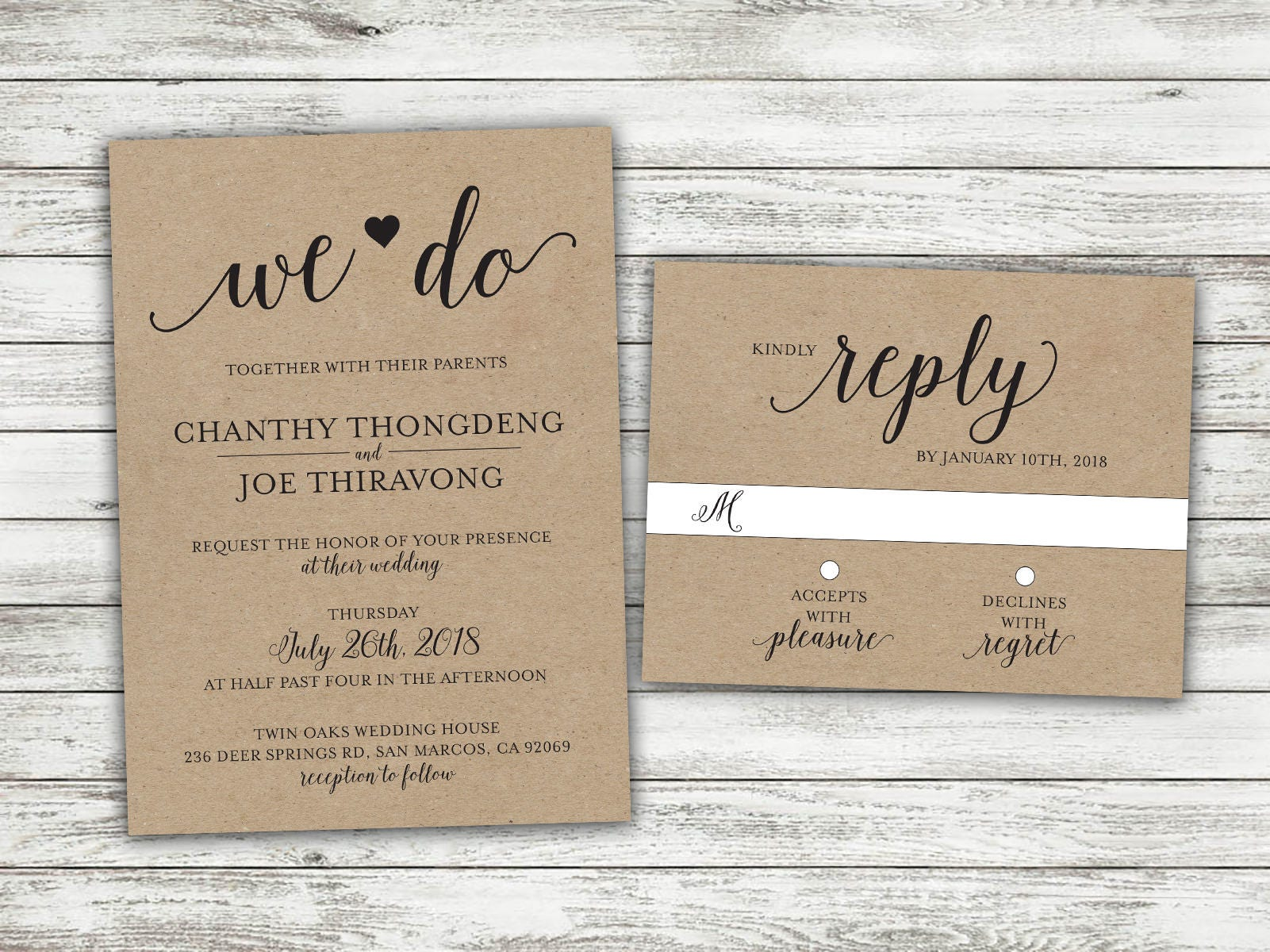We Do Country Wedding Invitations Set Printed, Rustic Wedding ...