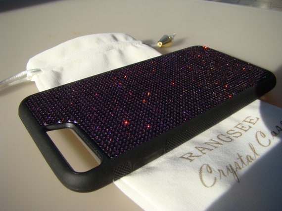 "iPhone 8 Plus Case / iPhone 7 Plus ""Dark Purple"" Amethyst Rhinestone Crystal on Black Rubber Velvet/Silk Pouch Bag Included, ."
