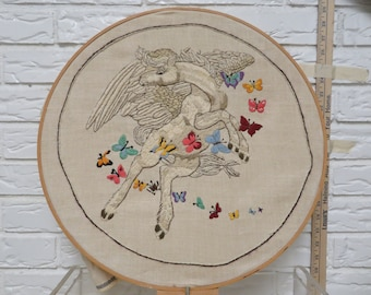 Pegasus Needlepoint Embroidered Butterflies, Greek Mythical Creature, Horse, winged devine stallion, colorful needlework
