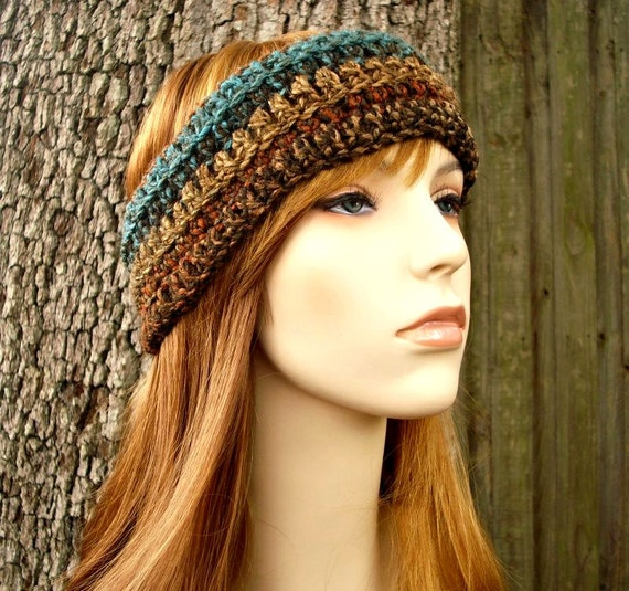 Womens Crochet Headband - Crochet Turban Headband in Chocolate Peacock Brown Teal - Womens Accessories