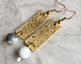 Hammered antiqued brass rectangle earrings with howlite/Semi preciousgold colour l drop earrings/Handmade natural textured dangle earrings