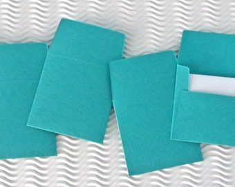 36+ teeny tiny envelope note card sets handmade blue vibrant teal mini miniature square party favors weddings stationery guest book