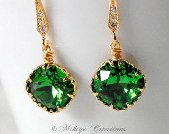 Bridesmaid Earrings, Holiday Gift, Bridal Accessories, Green Earrings - Bridesmaids Earrings - Fern Swarovski Crystal Earrings