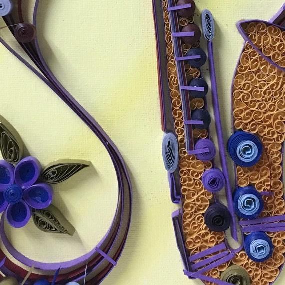 Customized quilled saxophone wall art musician art musical
