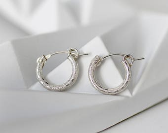 Small silver hoop earrings, tiny silver hoops, small hoop earrings, minimalist earrings, tiny earrings, everyday earrings, valentines gift