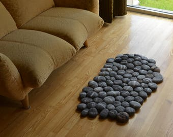Felt stone rug - felt stone - wool rug - ecofriendly wool rug - light gray - gray - dark gray