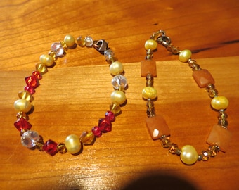 Beaded Bracelets in Autumn Hues - Set of 2
