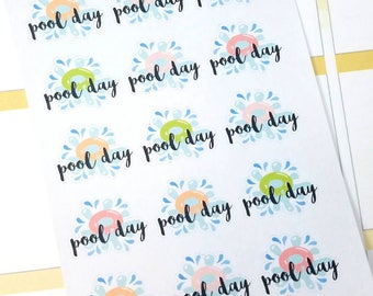 Pool day planner stickers - Gift for her - Daily Planner - Filofax - Erin Condren - Happy Planner - swimming - Christmas Gift -