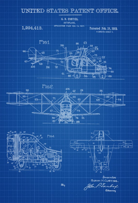 Flying Car Patent Vintage Airplane Airplane Blueprint