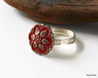 Red Button Ring, Silver Button Ring, Wire Wrapped Ring, Flower Button Ring, Antique Style Ring, Silver Leaves Ring, Red Metal Ring