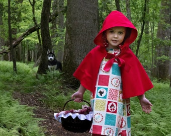 Red Riding Hood Costume, Red Cape, Red Riding Hood Dress, Toddler Girl, Halloween Costume, Red Riding Hood Cape, Toddler Halloween Costume