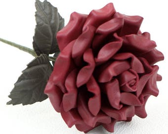 Berry Burgundy Leather Rose Large Third Wedding Stem Leather Flower Valentine's Day 3rd Leather Anniversary Mother's Day Anniversary Gift