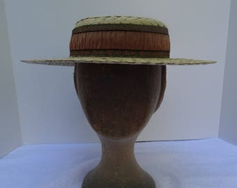 1890's Reproduction Victorian Straw Boater Hat with metallic ribbon trim