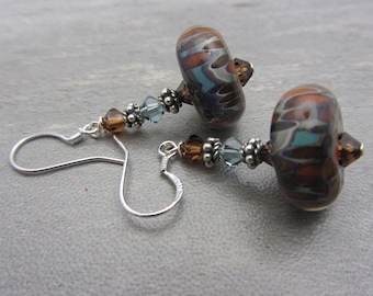 Lampwork Earrings Earthtone Colored Earrings Boro Lampwork Glass Bead Earrings Dangle Drop Earrings Mothers Day Gift SRAJD USA Handmade