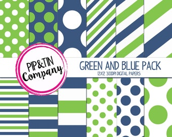 Green and Blue Digital Paper Pack, Scrapbook Paper, Instant Download,  Polka Dots Stripes