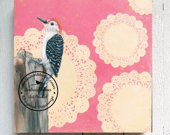 Red-bellied Woodpecker by Andrea Holmes | Original Painting | 12x12x1.5 | Bird Series | Art