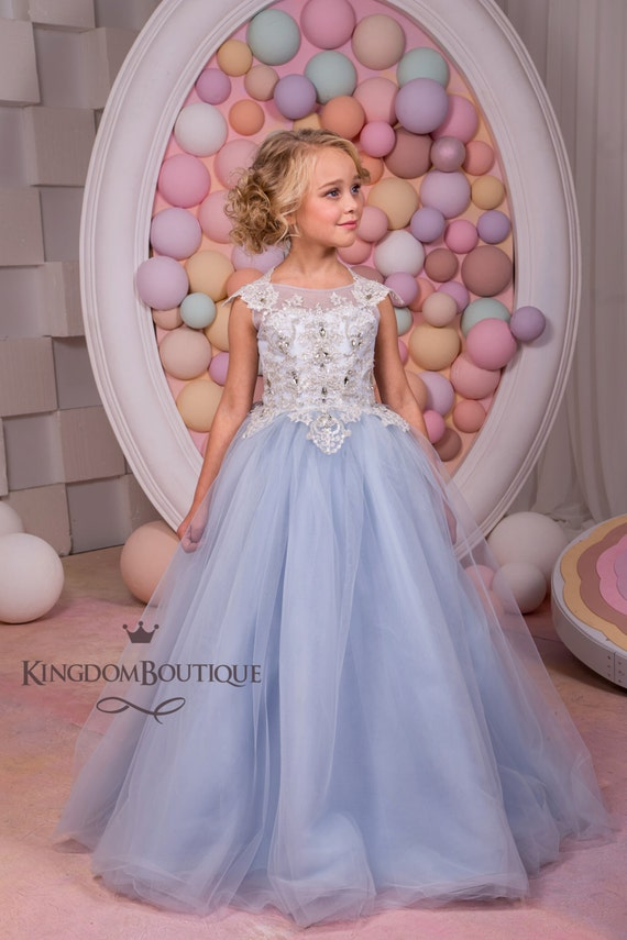 Silver blue tulle flower girl dress wedding party birthday mightylinksfo