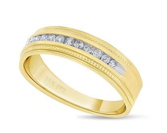 0.35 CT Natural Diamond Miligrain Men's Wedding Band in Solid 14k Yellow Gold