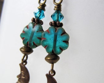 Aquamarine Blue Czech Glass Half Moon Niobium Earrings - BeadedTail