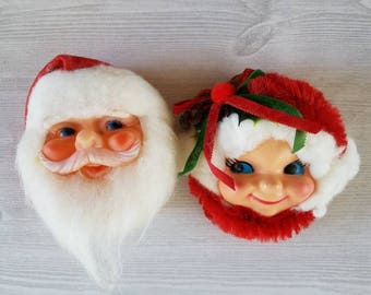 Santa and Mrs. Claus Heads/ Decorations/Magnets
