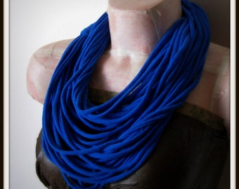 SALE Blue Infinity Multi Strand T shirt Jersey Scarf