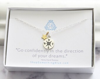 Graduation Gift • Compass & Star Charm Necklace • Student Gift • College Student • Class Of 2018 • Grad Gift Idea • Compass Necklace • G01