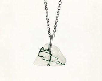 Sea Glass Jewelry, Sea Glass Necklace, Sea Glass pendant, Glow in the dark, White Sea Glass,Pendant Necklace, Wedding Jewelry, Wire Jewelry