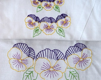 Vintage Pansies Machine Embroidery Design 3 sizes, 3x3, 4x4 or 5x7 colorwork linework, INSTANT DOWNLOAD. flowers, baby, girl. pillowcases