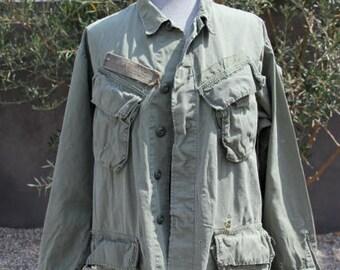 vintage long sleeve olive green u.s. army military jacket medium/large