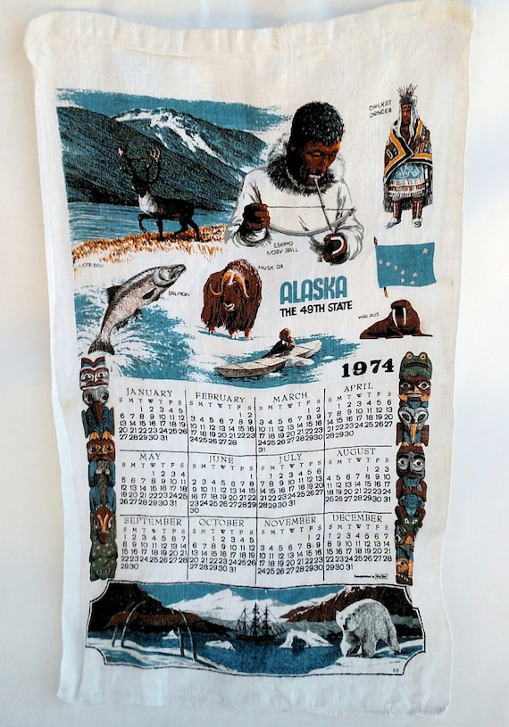 Vintage 1974 Linen Tea Towel Calendar with Alaskan Culture and Wildlife