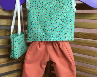 "Clothing for 18"" Dolls: Orange Capri's,Green polkadot shirt, purse"