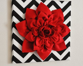 """Red Wall Flower -Red Dahlia on Black and White Chevron 12 x12"""" Canvas Wall Art- Baby Nursery Wall Decor-"""