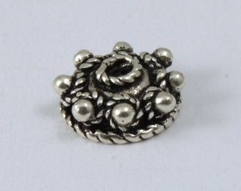 5mm Sterling Silver 8 Dot Bead Cap (2 Pcs) #TKS045